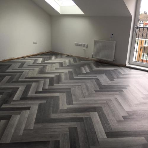 Grey Oak LVT Click Herringbone Flooring